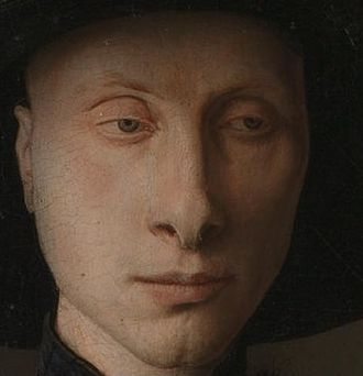 Arnolfini Portrait - Detail showing the male subject, probably Giovanni di Nicolao Arnolfini