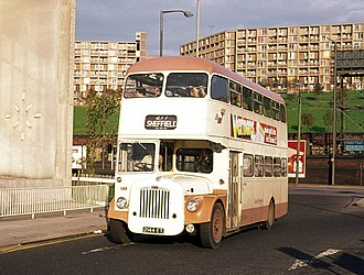 History of the PTE bus operations - South Yorkshire PTE Charles H Roe bodied Daimler CVG6 in Sheffield in September 1976