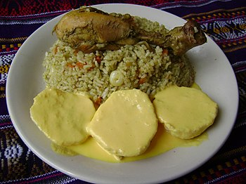"English: ""Arroz con pollo"" and ""..."