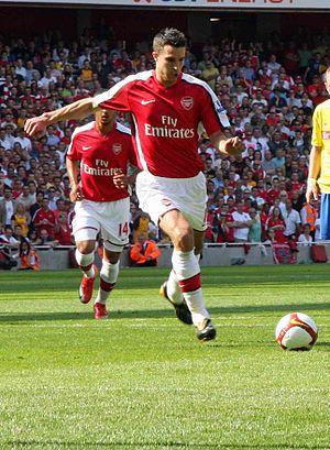 "Robin van Persie of Arsenal {| class=""mes..."