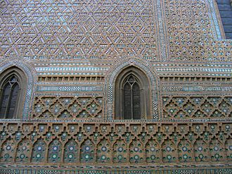 Mudéjar - Façade of Parroquieta Chapel of La Seo de Zaragoza, Aragon, one of the most elaborate examples of Gothic Mudéjar masonry