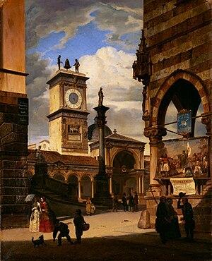 Fausto Antonioli - Veduta della piazza Contarena di Udine, 1856 (Art collections of Fondazione Cariplo)