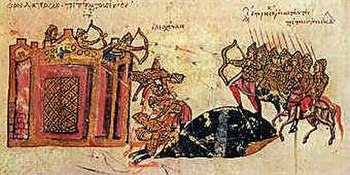 Assault of  Tornikios against  Constantinople from the  Chronicle of  John  Skylitzes