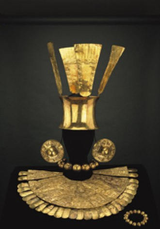 Chimú culture - Gold adornments of the Chimú dated to about 1300, Larco Museum