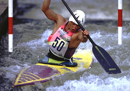 Thierry Humeau at the Canoe Slalom World Cup in Augsburg, 1990 Augsburg - 1990 World Cup.jpg