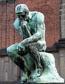 """""""El Pensador o Dante Pensando"""", de Auguste Rodin (1880-82), famosa representación de una persona inmersa en la reflexión o en solemne meditación."""