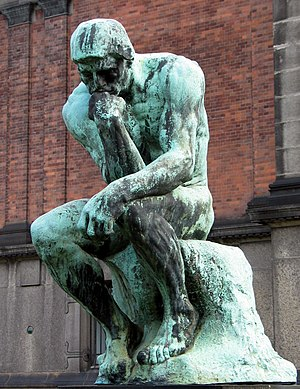 Statue - The Thinker, by Auguste Rodin c. 1902, Bronze, Copenhagen, Denmark