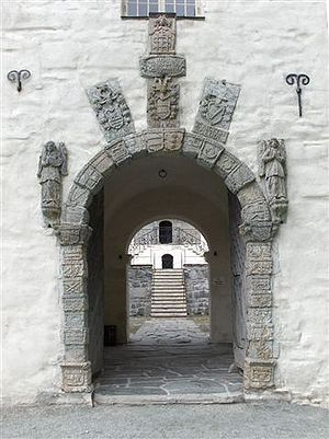 Austrått - The manor's entry portal with the coat of arms carved in soapstone.