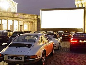 Drive-in theater - A drive-in with an inflatable movie screen in Brussels, Belgium