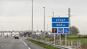 Autoroutes of France - Toll barrier in Hordain (north of France), on autoroute A2