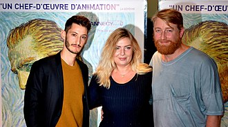 Loving Vincent - Directors Dorota Kobiela and Hugh Welchman at the film's French premiere in Paris, with actor Pierre Niney who provided the voice of Armand Roulin in the French version.
