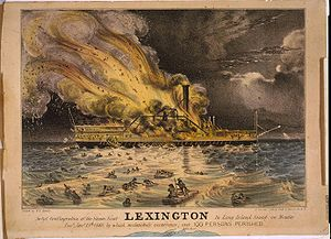 Lexington (steamship) - A lithograph of the fire on board the Lexington, by Nathaniel Currier.