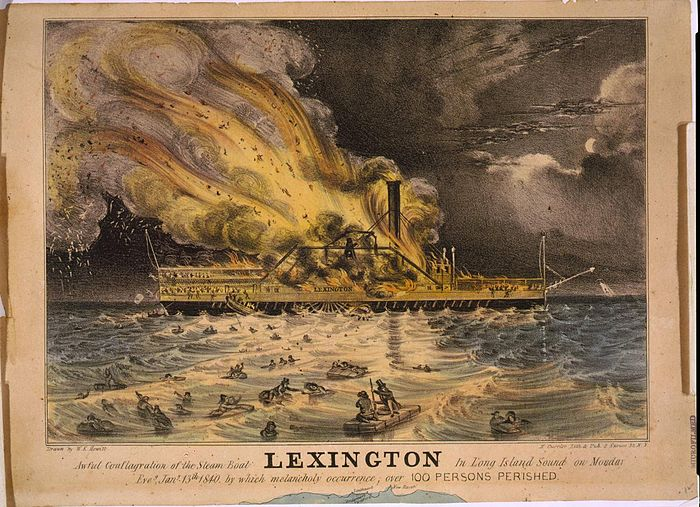 A lithograph of the fire on board the Lexington, by Nathaniel Currier. Awful conflagration of the steam boat Lexington.jpg