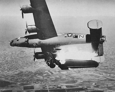 A USAAF B-24 hit by flak over Italy, 10 April 1945. B-24 hit by Flak.jpg