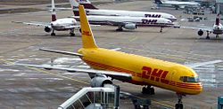A DHL Boeing 757 at Cologne/Bonn Airport.