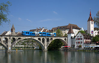 Bremgarten–Dietikon railway line - One of the, since sold, Be 4/8 units on the railway bridge in Bremgarten