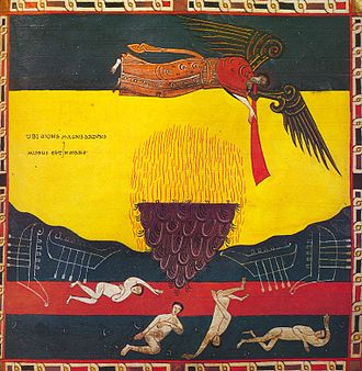 Seven trumpets - Second trumpet: a great burning mountain plunges into the sea. Beatus de Facundus, 1047.