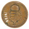 Baksida av medalj med Ungerska riksvapen samt text, 1680-tal - Skoklosters slott - 99331.tif