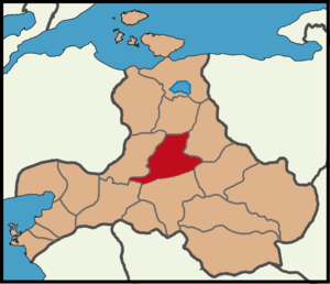 Balikesir district borders and red area shows Karesi (Provincial Centre) Balikesir location Karesi.png