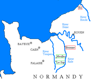 Baldwin FitzGilbert - Map showing manors in Normandy associated with the origins of Baldwin FitzGilbert