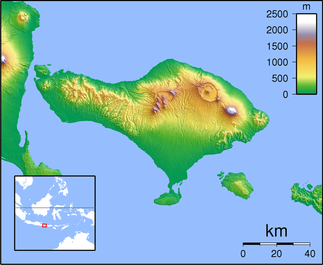 Look at this map. The white tip is the volcano currently erupting (Agung). Now look at the huge ass caldera (10x13 km) to the northwest. That is what is left from a very old (>20,000 years) eruption. Standing on the rim of that caldera and realizing the scope of what must have happened was mind blowing. I really hope scientists today could tell if people were siting on a powder keg like that thing was back then.