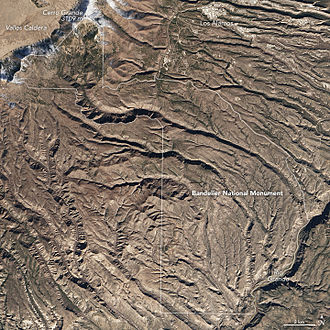 Bandelier National Monument - Bandelier satellite image, December 2015. Bandelier's topgraphy can be seen most clearly in winter, with less vegetation obscuring it.