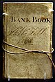 Bank account book, issued by Petty and Postlethwaite for use in Cumbria, UK. 1st entry 1831, last entry in 1870. On display at the British Museum in London.jpg