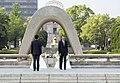 Barack Obama and Shinzo Abe laying flowers at the Flame of Peace Hiroshima.jpg