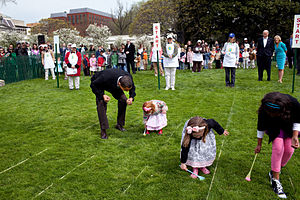 Egg rolling - Barack Obama at the 2009 White House Easter egg roll