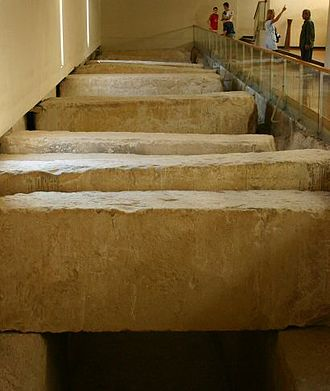 Ancient Egyptian solar ships - Picture of discovery place of Solar boat pit covered by stones inside the Solar bark museum.