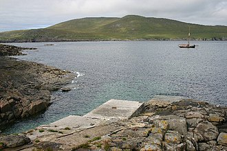 Barra Head - The jetty at Achduin with Mingulay beyond