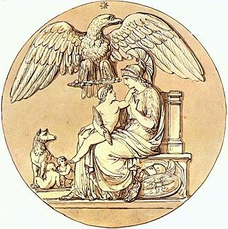 "Bartolomeo Pinelli - The goddess Rome and the ""King of Rome"", Rome, Museo Napoleonico"
