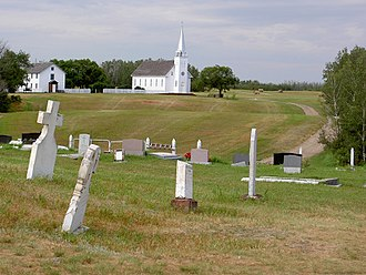 Batoche, Saskatchewan - Church, rectory and cemetery of Saint Antoine de Padoue in Batoche