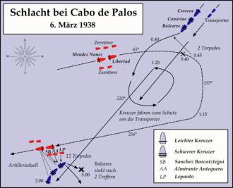 Battle of Cape Palos - Image: Battle Kap Palos Map Ger