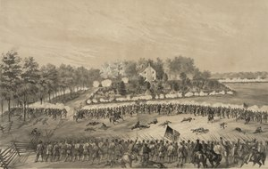 Lines of soldiers fire at each other, with houses in the background