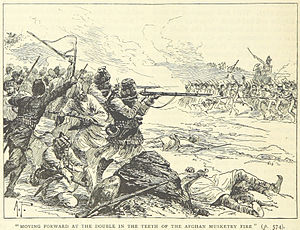 Battle of Jellalabad - The British troops (right) attack the Afghan line (illustration from a British book)