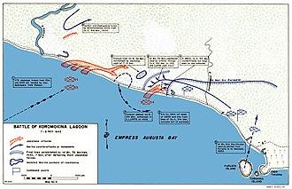 Battle of Koromokina Lagoon - Map depicting the fighting around Koromokina Lagoon, 7/8 November 1943