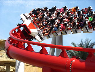 Battlestar Galactica (roller coaster) - One of the old sit down trains on the Human side of Battlestar Galactica