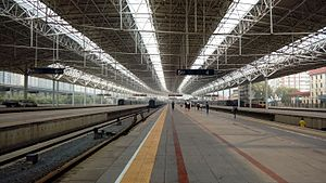 Beijing North Railway Station - Platforms at Beijing North Railway Station, 16th Sept 2016, showing various trains and the S2 service to Badaling