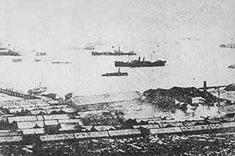 Beiyang Fleet - The Beiyang fleet at anchor in Weihaiwei