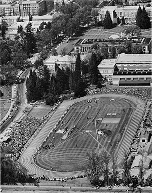Bell Field - Aerial view of track meet from the southeast