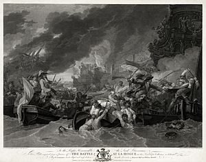 Action at La Hogue (1692) - The Battle at La Hogue: engraving by William Woollett (1781) after a painting by Benjamin West