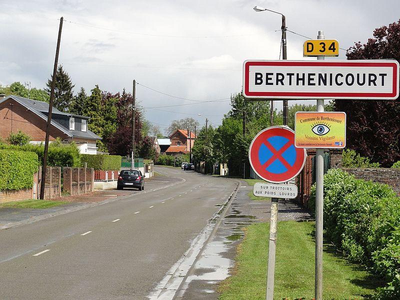 Berthenicourt (Aisne) city limit sign
