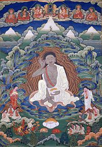 Bhutanese painted thanka of Milarepa (1052-1135), Late 19th-early 20th Century, Dhodeydrag Gonpa, Thimphu, Bhutan.jpg