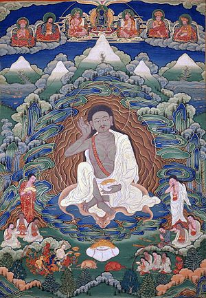 Bhutanese art - Painted thangka of Milarepa (1052-1135), late 19th-early 20th century, Dhodeydrag Gonpa, Thimphu.