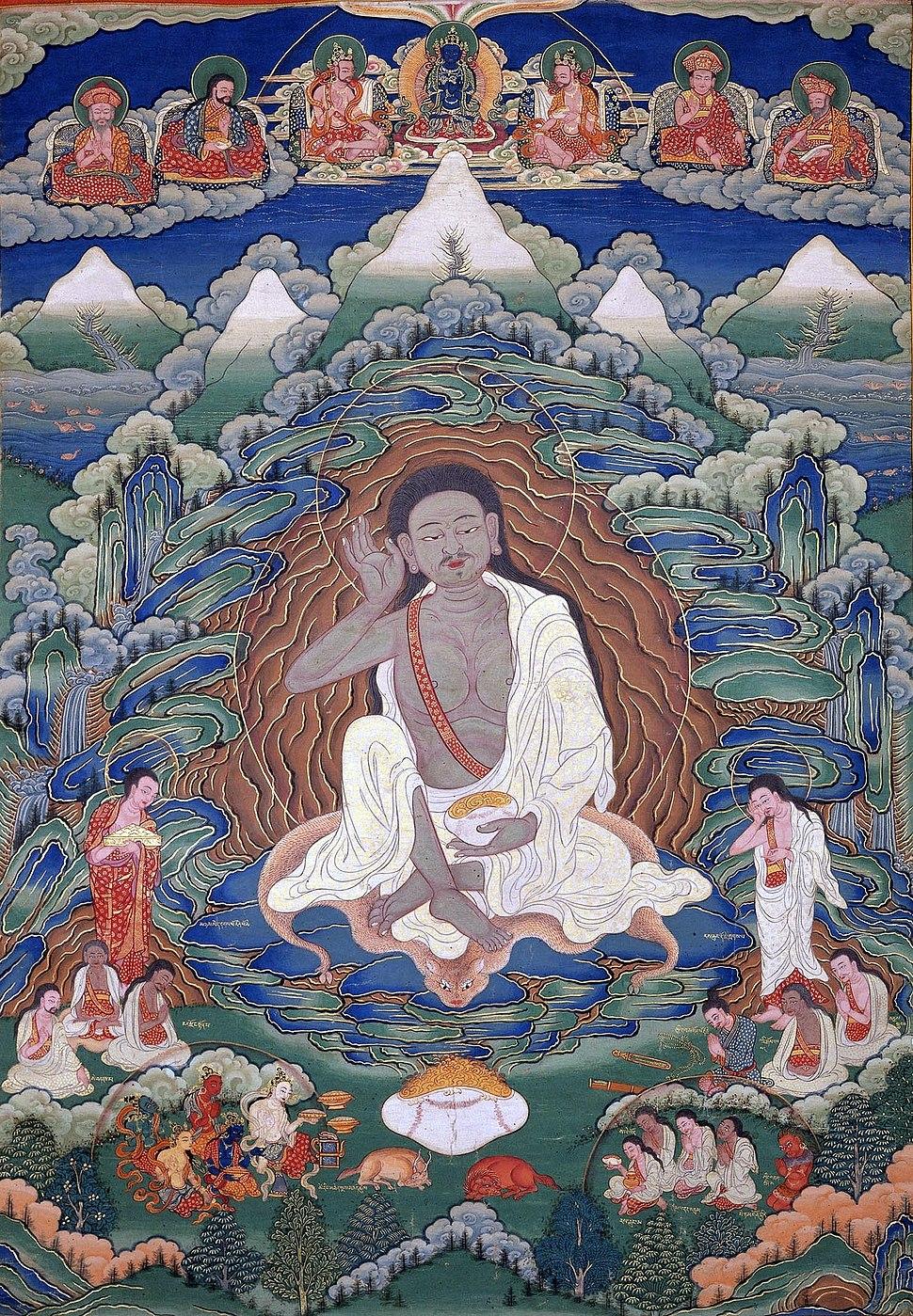Bhutanese painted thanka of Milarepa (1052-1135), Late 19th-early 20th Century, Dhodeydrag Gonpa, Thimphu, Bhutan