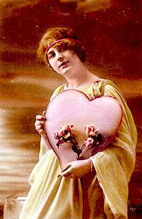 تصویری از یک کارت پستال روز والنتین در حدود سال ۱۹۰۰ میلادی