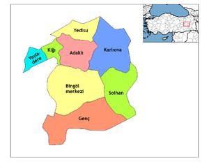 Genç, Bingöl - Bingöl county's districts.
