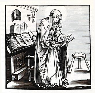 Swedish orthography - Bridget of Sweden with manuscripts.