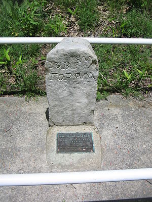 Pennsylvania Route 504 - One of the historic mile markers from 1821 along the highway, within Black Moshannon State Park